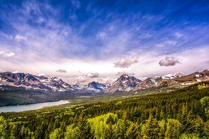 Бесплатные фото Lower Two Medicine Lake,Glacier National Park,горы,деревья,озеро,пейзаж