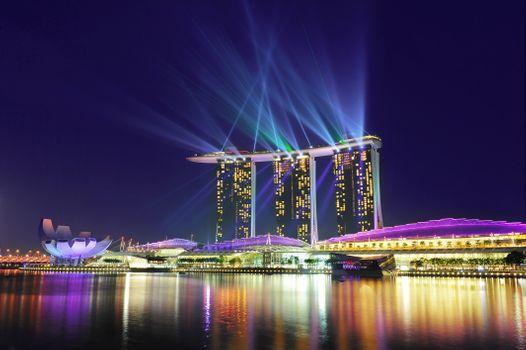 Бесплатные фото Marina Bay,Singapore,город,ночь,иллюминация,огни,ночные города