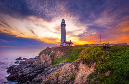 Бесплатные фото Pigeon Point Light Station,Pigeon Point Lighthouse,California,закат,море,берег,маяк,пейзаж