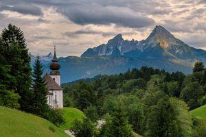 Фото бесплатно Bavaria, Церковь паломничества Мария Герн, Бавария, Германия, горы, закат, деревья, пейзаж