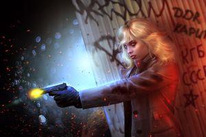 Фото бесплатно девушка, блондинка, пистолет, выстрел, фантазия, art