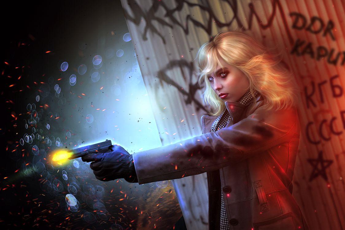 Фото бесплатно девушка, блондинка, пистолет - на рабочий стол