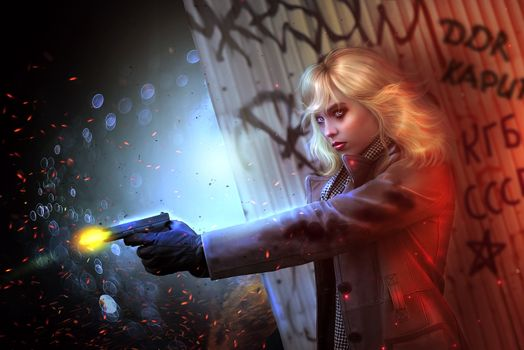 Photo free girl, blonde, gun