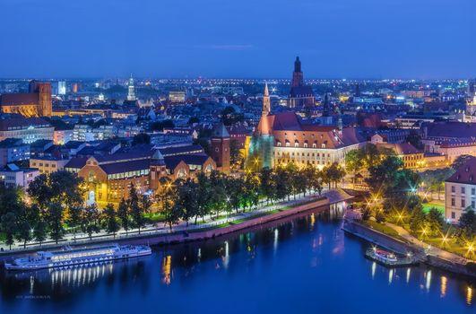 Бесплатные фото Вроцлав,Польша,город,ночь,иллюминация,ночные города