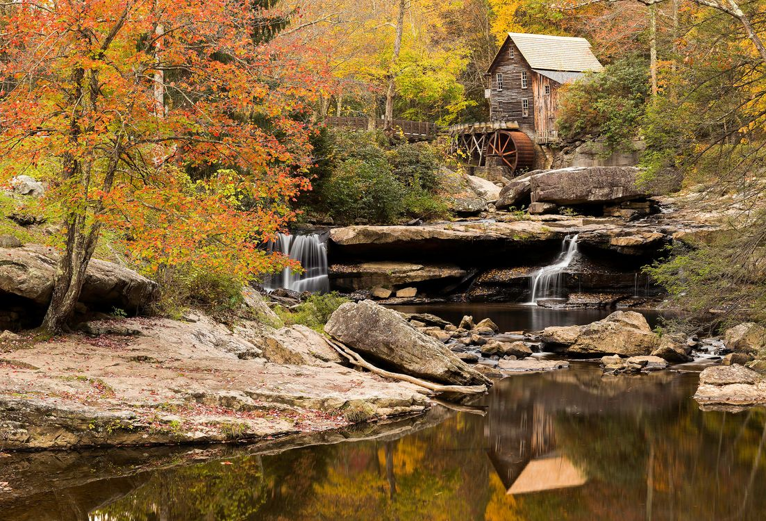 Free photo waterfall, Babcock State Park, landscape - to desktop