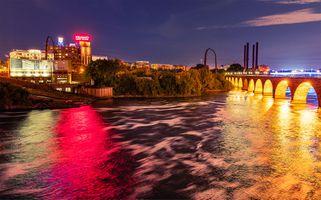Фото бесплатно река, огни, ночной город