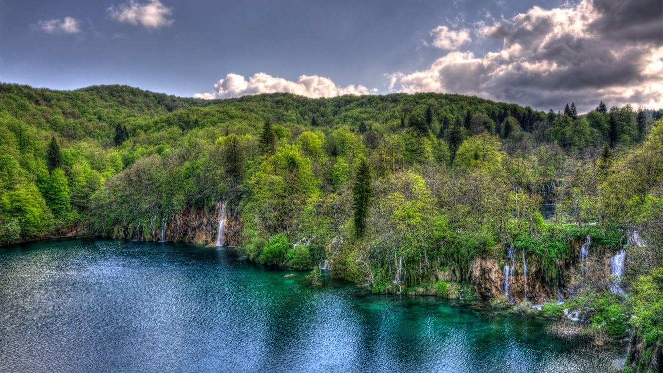 Фото бесплатно Плитвицкие озера, Хорватия, водопад, деревья, пейзаж, Национальный парк Плитвицкие озера, пейзажи