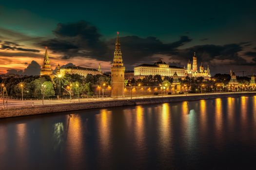 Photo free Tverskoy District, Russian Federation, Moscow Kremlin and Moscow River Illuminated in the Evening