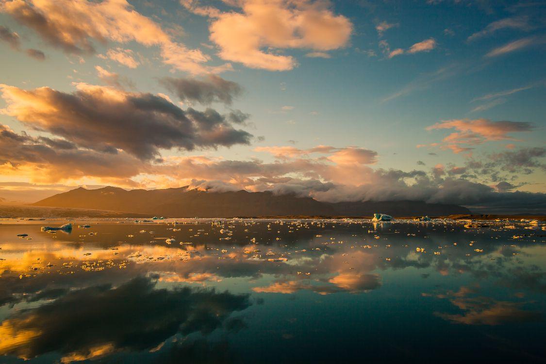 Фото бесплатно море, льдины, закат - на рабочий стол