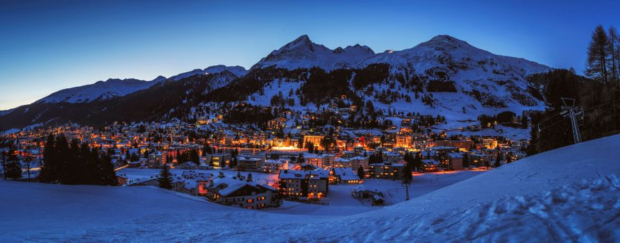 Photo free Blue hour Davos, Grisons, Davos