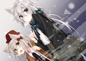 Заставки аниме, аниме девушки, уши, животное, короткие волосы, длинные волосы, седые волосы, зеленые глаза, голубые глаза