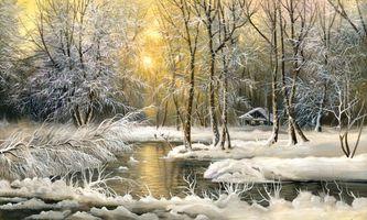 Фото бесплатно холод, дом, масло, картина, снег, деревья, зима