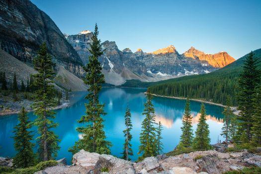Фото бесплатно Озеро Моренные, озеро, Альберта