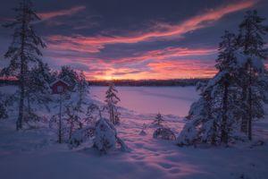 Бесплатные фото Ringerike,Norway,закат,зима,снег,деревья,домик