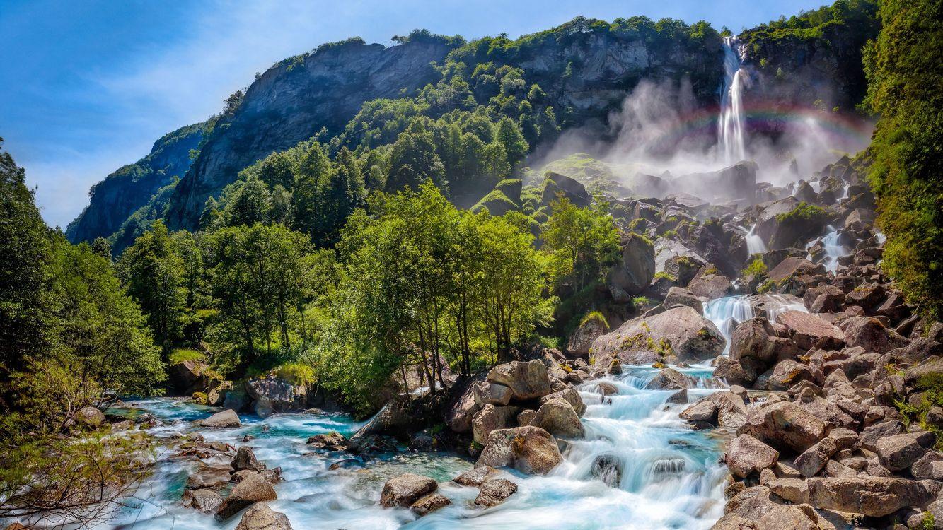 Фото бесплатно швейцария, водопад, деревья, пороги, пейзажи