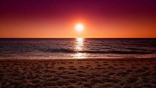 Photo free Ocean, sunset, sand