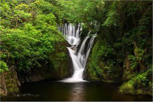 Заставки водопад, скалы, лес