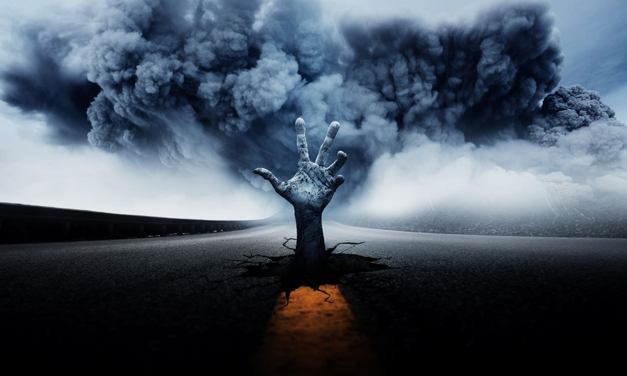 Картинка дорога, буря, смерч, ураган, рука, art на рабочий стол. Скачать фото обои рендеринг