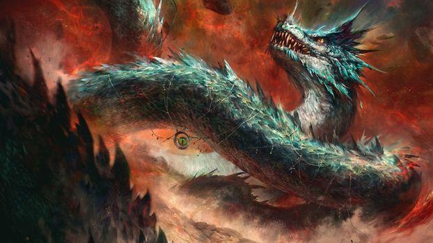 Фото бесплатно Величественный дракон, волшебный глаз, цепи