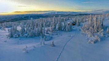 Заставки следы, закат, Норвегия