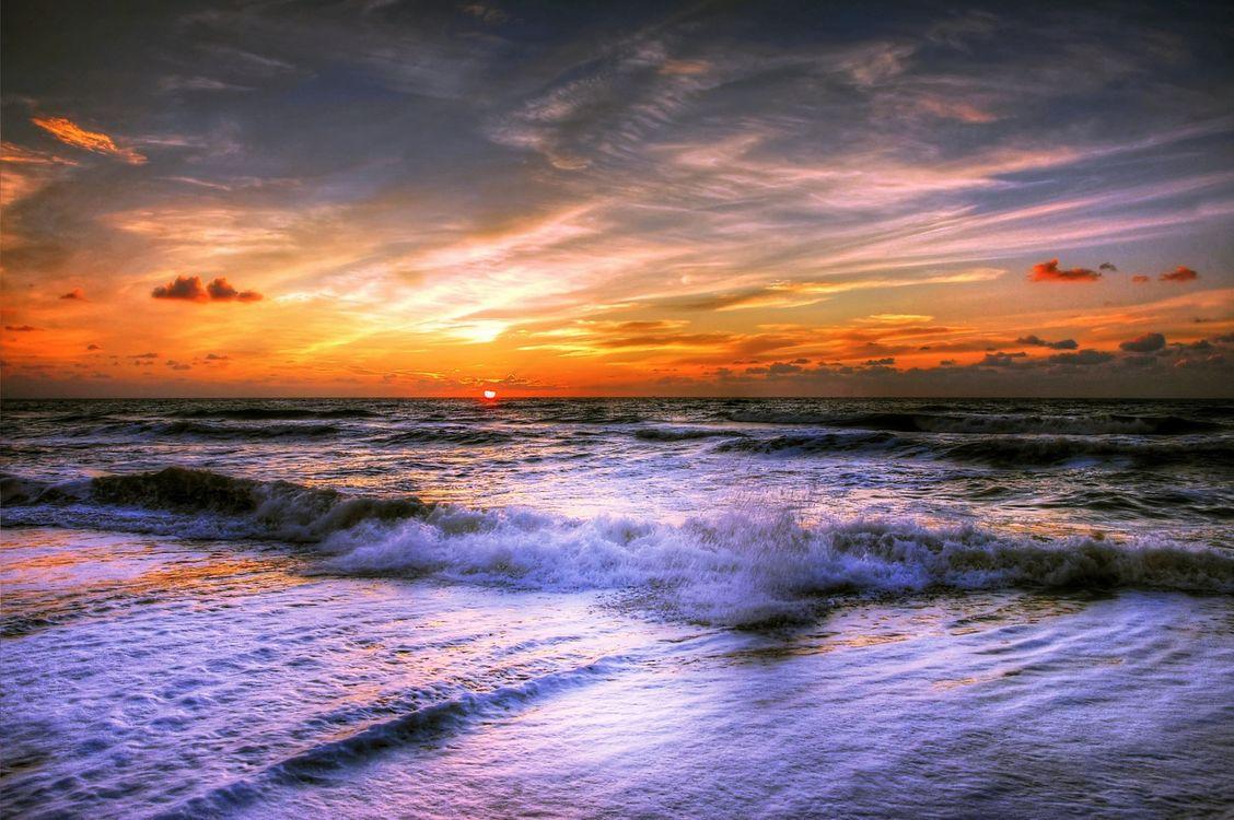 Фото бесплатно закат, море волны, берег - на рабочий стол
