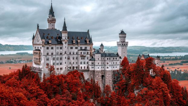 Photo free castle, beautiful, red leaves