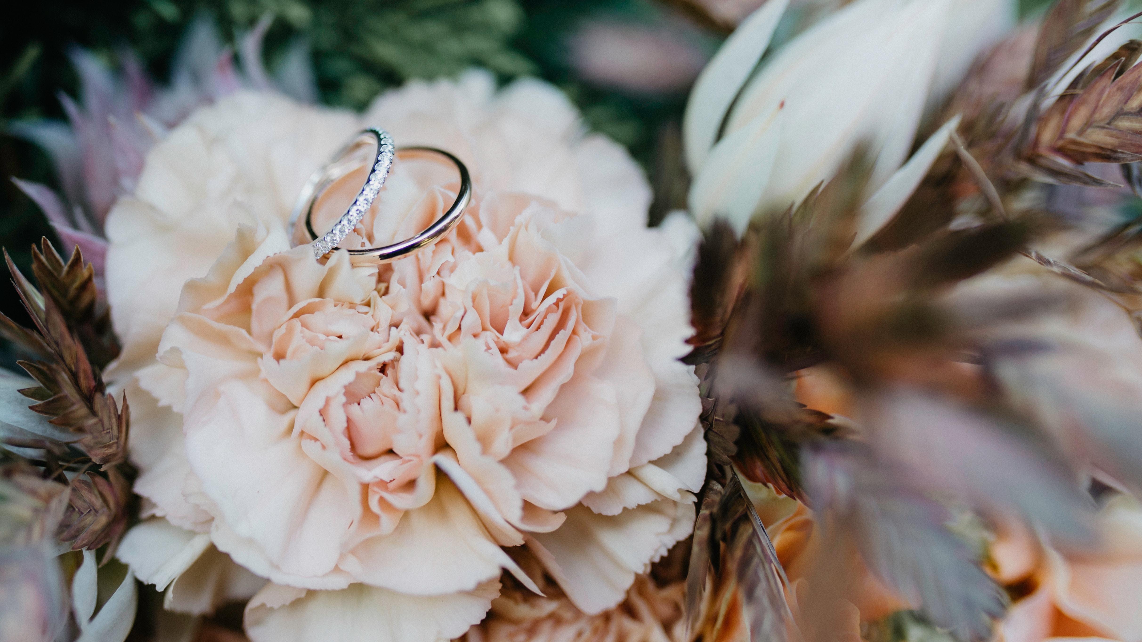 Фото колец на фоне цветов
