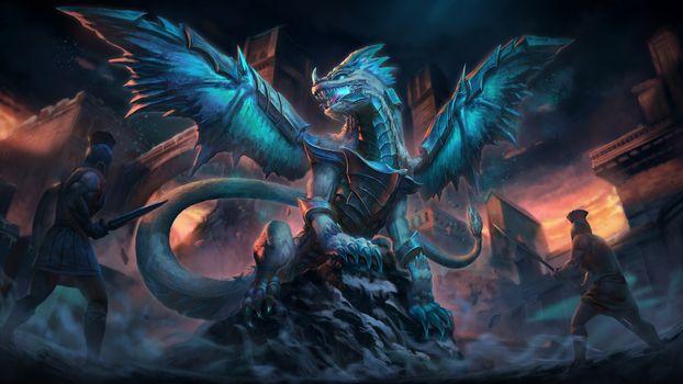 Дракон и гладиаторы · бесплатное фото