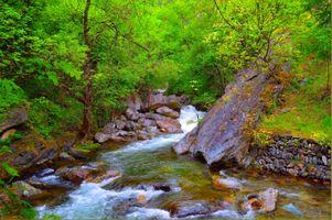 Фото бесплатно магическая река, водопад, лес
