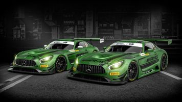 Two green Mercedes AMG GT C