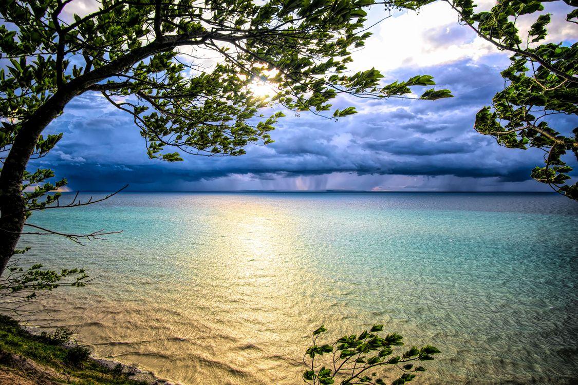 Фото бесплатно озеро Мичиган, закат солнца, небо, дерево, пейзаж, CША, пейзажи