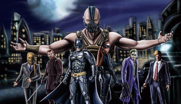 Photo free Batman, Bane, Batwoman