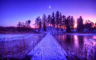 Бесплатные фото ночь,месяц,река,мост,зима,деревья,сумерки