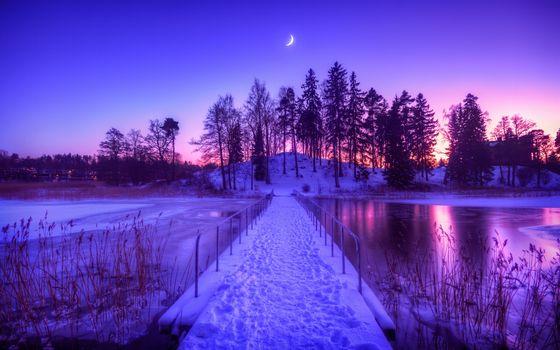 Фото бесплатно ночь, месяц, река