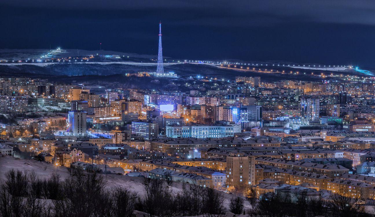 Фото бесплатно Ночной Мурманск, Россия, город - на рабочий стол