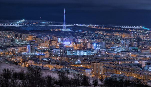 Фото бесплатно Ночной Мурманск, Россия, город
