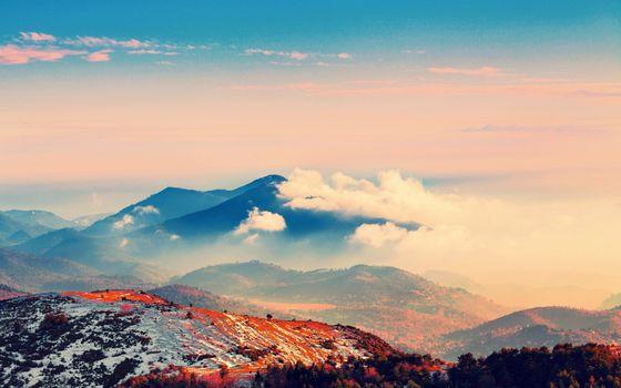 Заставки гора, обои, туман