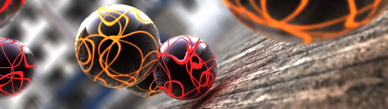 Черные шарики с разноцветными полосами · бесплатное фото
