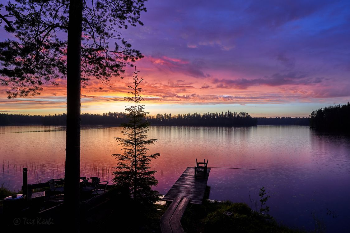 Закат на озерах Финляндии · бесплатное фото
