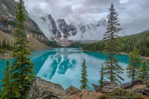 Заставки Lake Moraine,надвигающийся туман,елки,Canada,Озеро Морейн,Альберта,Канада