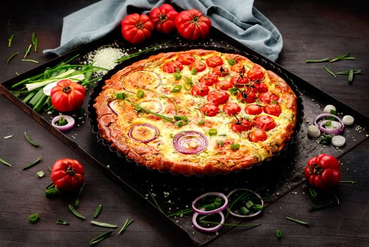 Pizza on a baking sheet · free photo