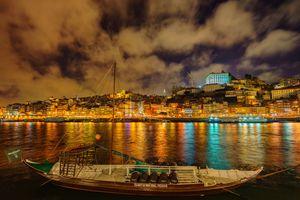 Бесплатные фото река Дора,Португалия Порту,город,ночь,иллюминация,ночные города