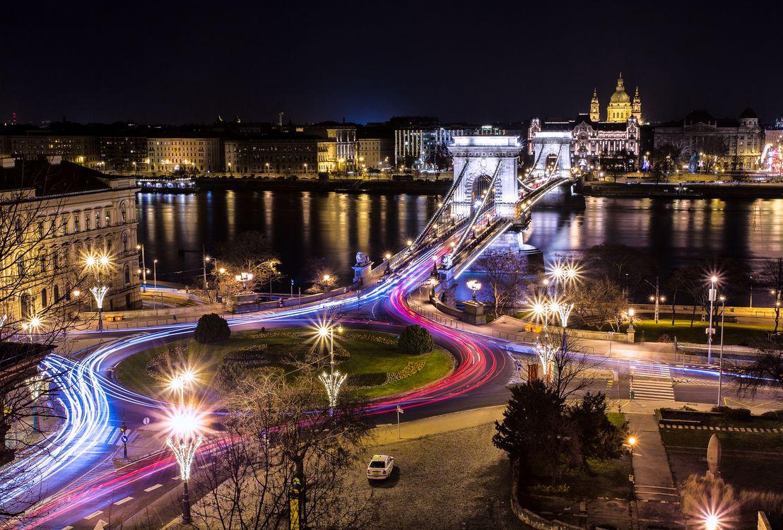 Фото бесплатно Chain Bridge, Budapest, Hungary, сумерки, ночь, иллюминация, ночные города - на рабочий стол