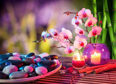 Бесплатные фото массаж,романтик,свечи,камни,бамбук,огонь,пламя,орхидея,цветы