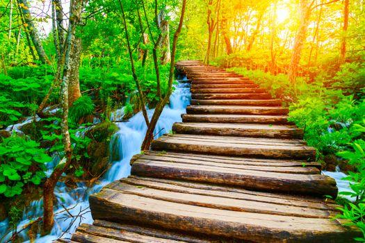 Обои Плитвицкие озера,Хорватия,водопад,деревья,дорожки,пейзаж