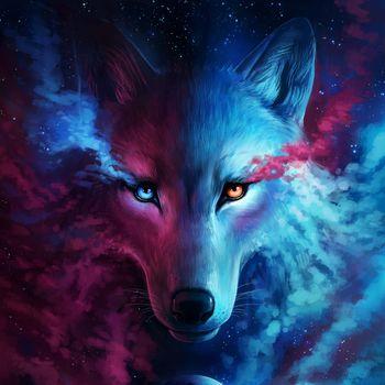 Фото бесплатно светлые глаза, фэнтези, величественный волк