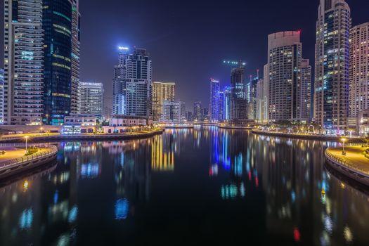 Photo free Dubai Marina by night, Dubai, United Arab Emirates