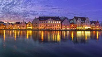 Заставки Ландсхут, старый Город, Изар, Bavaria, Германия, панорама, сумерки