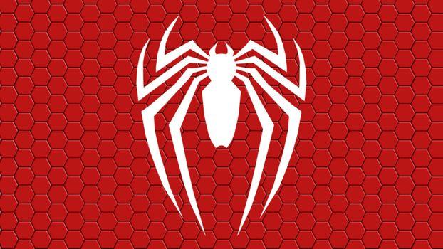 Фото бесплатно Человек-Паук, символ, красный фон