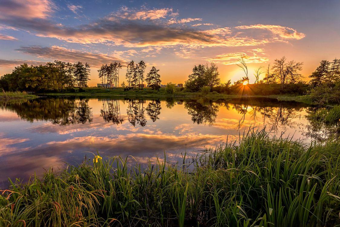 Фото бесплатно закат, река, небо облака, отражение, деревья, природа, пейзаж, пейзажи
